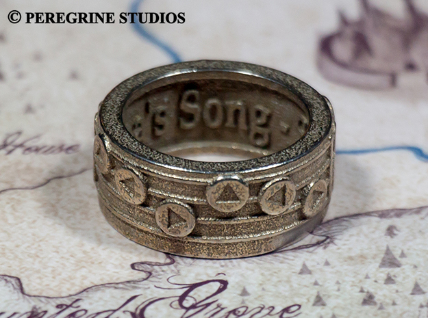 Ring - Epona's Song (Size 13) 3d printed Stainless Steel
