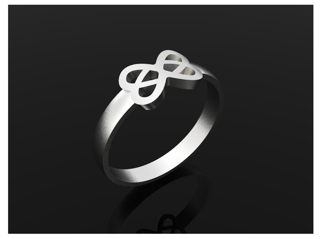 Infinity Ring 55mm 3d printed Silver
