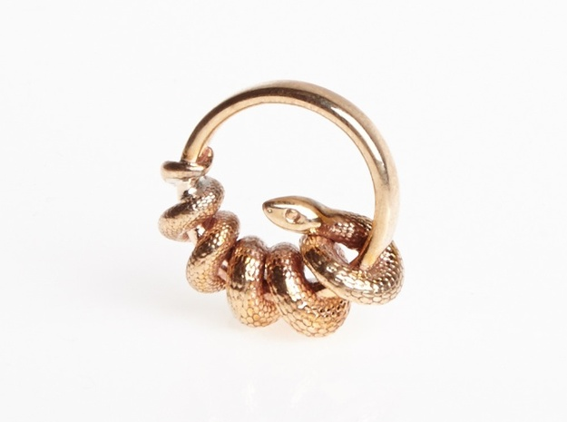 Reverse Snake Ring 3d printed Polished Bronze