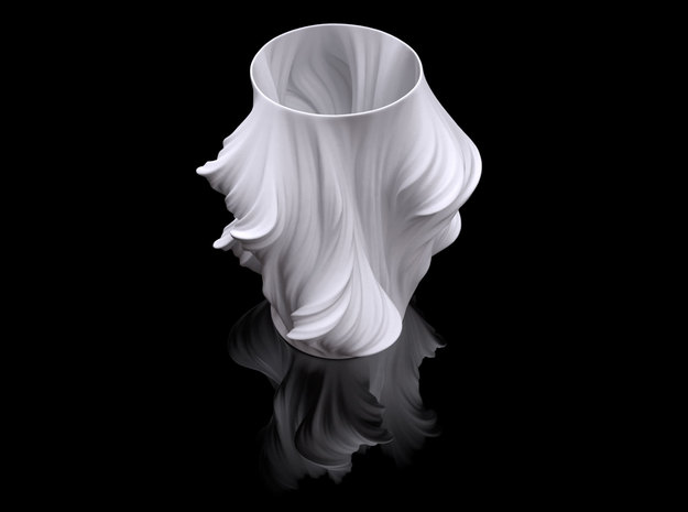 Julia Vase #011 - Heatwave 3d printed Preview render of White polished Heatwave