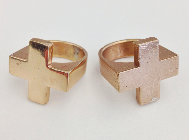 Plus Ring 3d printed Polished & Raw Bronze