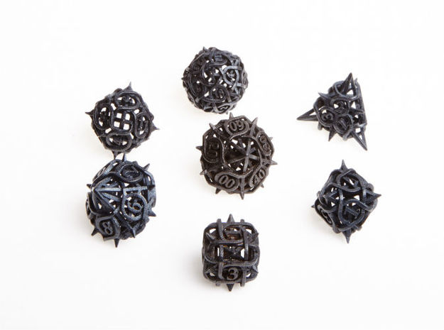 Thorn Dice Set with Decader 3d printed In matte black steel.
