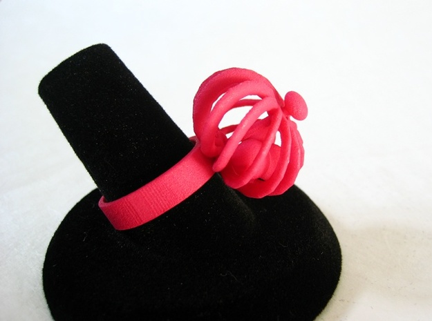 Turbine Fidget Ring 3d printed Pink