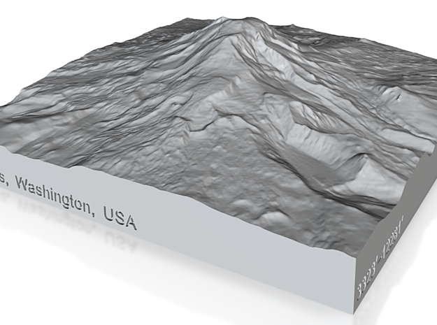 4'' Mt. Adams, Washington, USA, Sandstone 3d printed