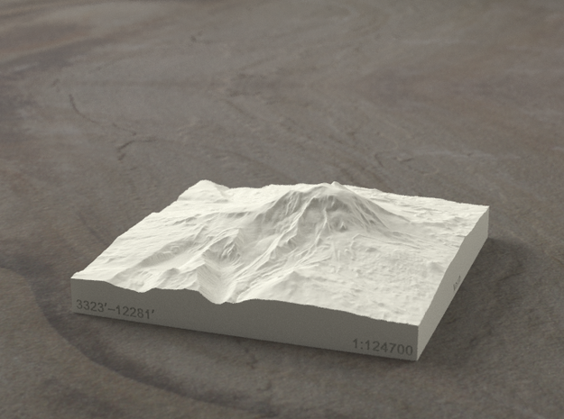 4'' Mt. Adams, Washington, USA, Sandstone 3d printed Radiance rendering of model, viewed from the East.