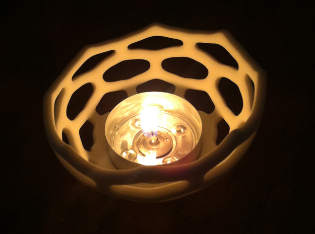 Coral style tea light bowl Ø10cm 3d printed 8cm Printed in White Strong Flexible