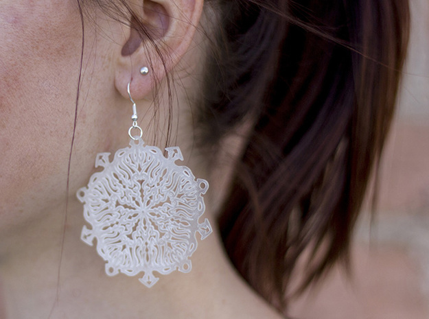 Snow Flake Earrings 3d printed Ultra Fine Detail