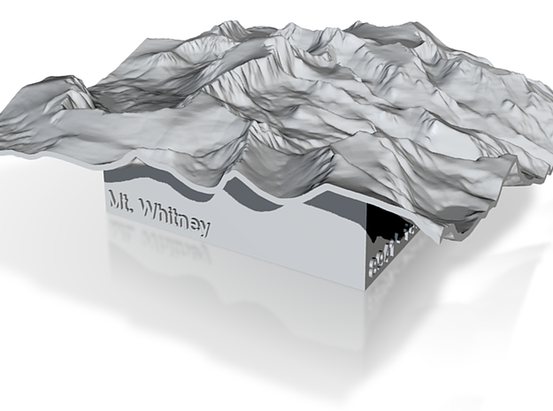 3'' Mt. Whitney Terrain Model, California, USA 3d printed