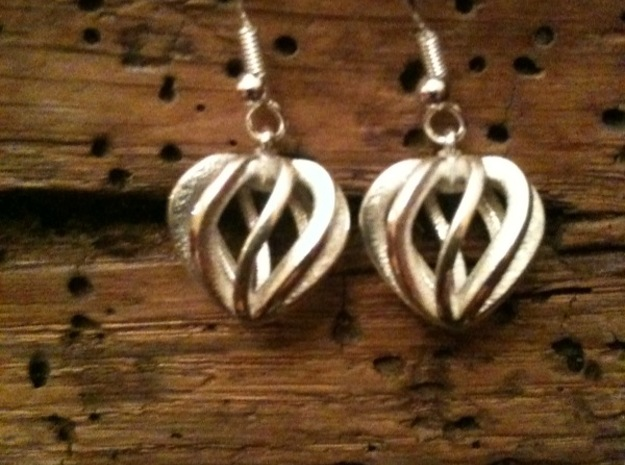 Heart Cage Earrings 3d printed Add a caption...