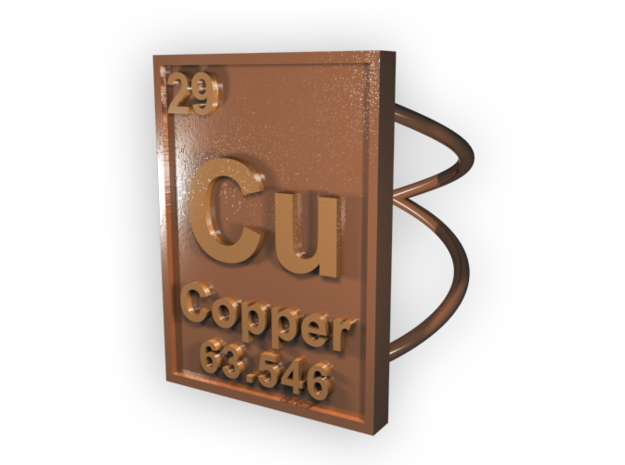 Copper Periodic Table Ring Size 6 3d printed CGI Render of The Copper Ring From The Top