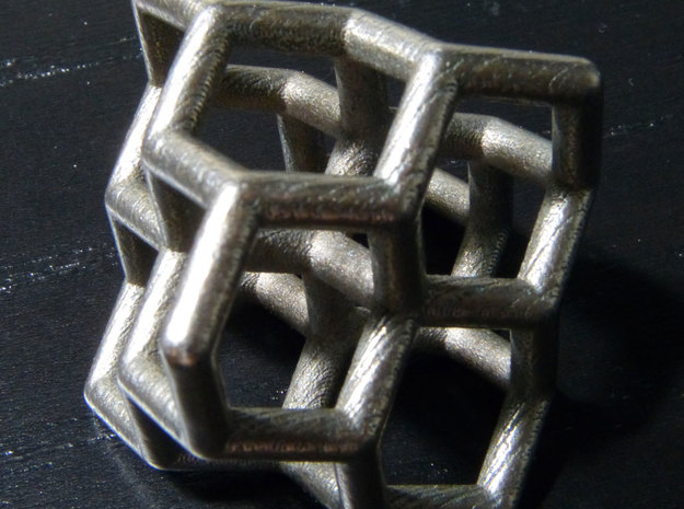 Diamond structure (small) 3d printed Printed in stainless steel.