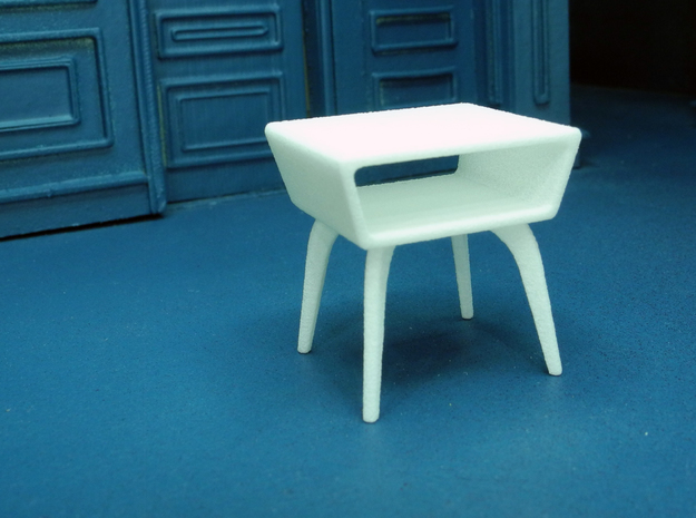 1:24 Moderne Angled Side Table 3d printed Printed in White, Strong & Flexible