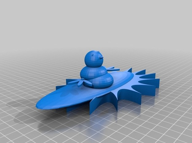Surfing Snowman 3d printed front colourless view