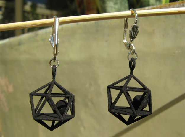 Dodecahedron and Ball Earrings 3d printed