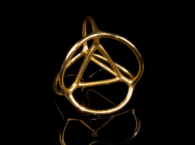 Soap Bubble Tetrahedron (S) 3d printed Printed in Polished Brass