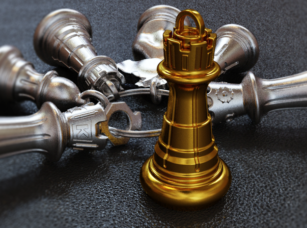 Chess Rook Pendant 3d printed Rook Key Chain Pendant - Each Sold Separately