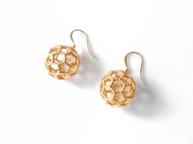 Buckyball Chemistry Molecule Earrings 3d printed Polished gold-plated steel