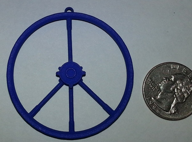 Peace Sign Dirtbike Wheel 3d printed Material Shown: Royal Blue Strong and Flexible