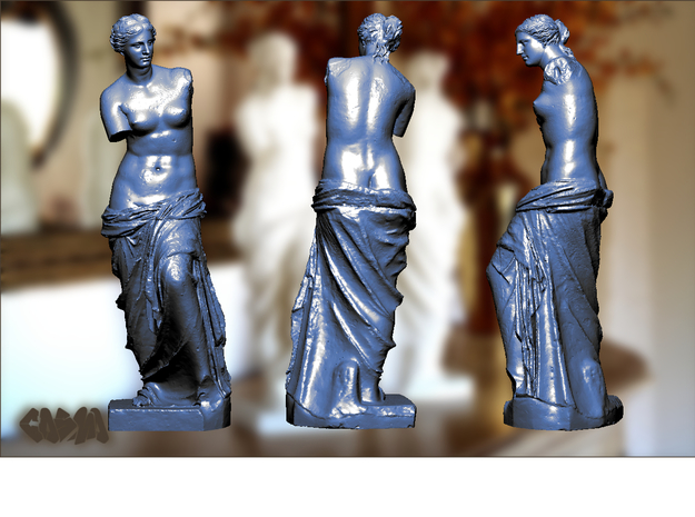 "Venus de Milo (24.25"" tall) 3d printed Venus de Milo (computer rendering, shown in blue for contrast)"