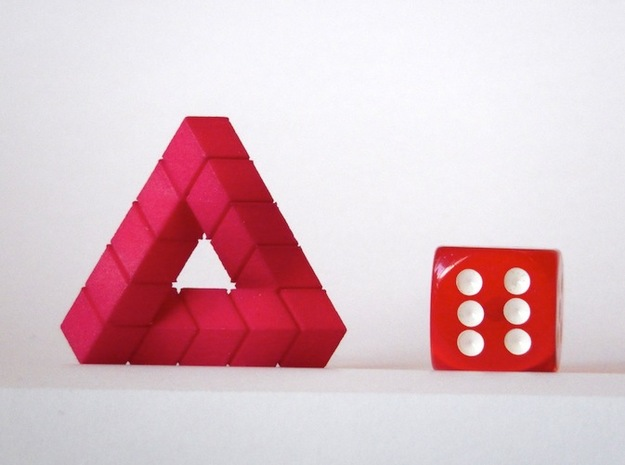Impossible Triangle, Cubed & Compact 3d printed Hot Pink Strong & Flexible