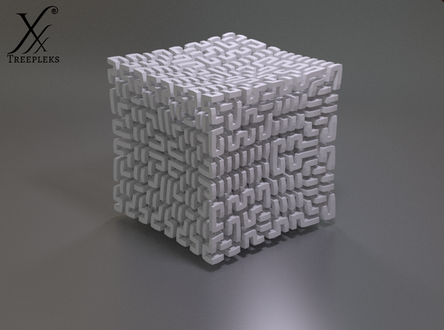 Square 3D Hilbert curve (4th order) 3d printed Cycle render in White, Strong, Flexible.