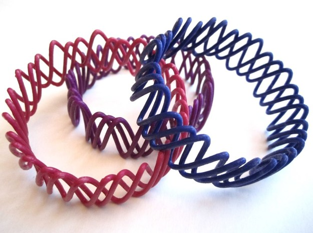 Spring Bracelet 3d printed Strong and Flexible Polished, hand varnished