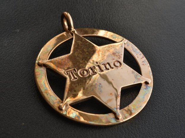 Sheriff's Star (6-point) Pet-Tag/Pendant (Thinner) 3d printed Tag shown in polished bronze