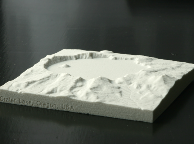 "4'' Crater Lake, Oregon, USA, Sandstone 3d printed Photo of 4"" Sandstone print, looking North into the caldera"