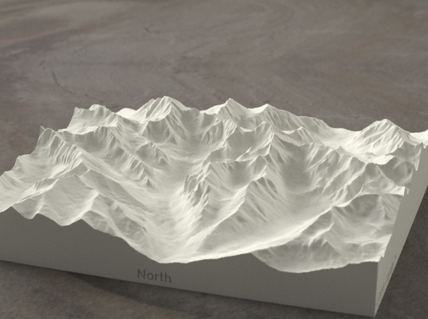 6''/15cm High Tatras, Poland/Slovakia, Sandstone 3d printed Radiance rendering of model, viewed from Poland, looking SSW