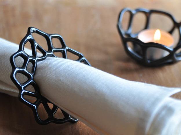 Napkin Ring Cell Shaped 3d printed View vith the Voronoi Tealight (sold seperately)