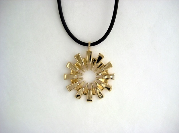 Sunburst Pendant - Printed Light in Fine Metals