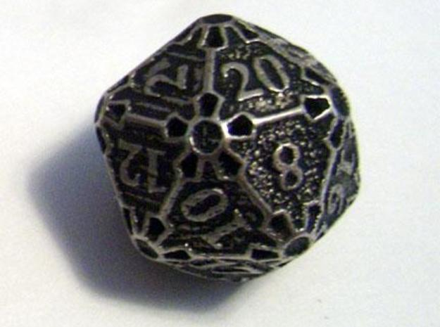 Die20 3d printed A Die20 in stainless steel and inked.
