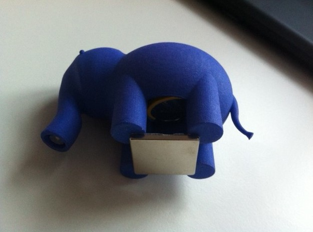 Elephant LED Lamp 3d printed add an adhesive magnet.