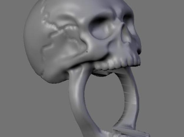 Skull Ring (size 7) 3d printed Clay render