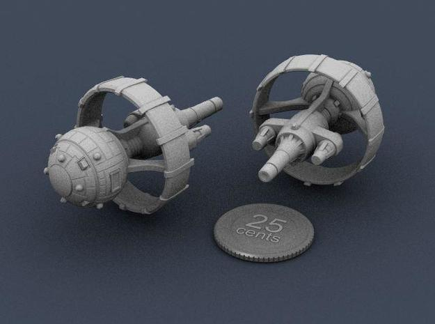 Belter Battlewagon v2 3d printed Render of the ship miniature, plus a virtual quarter for scale.