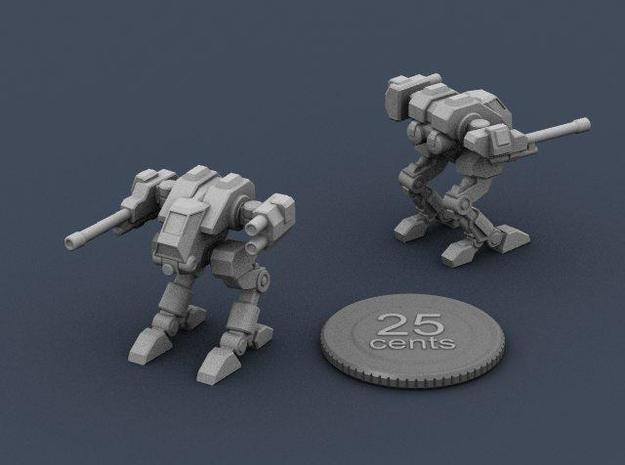 Terran Scout Walker 3d printed Render of the model from two angles, with a virtual quarter for scale.