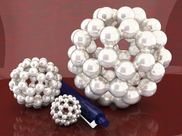 C60 - Buckyball - M - Steel 3d printed Three Sizes - Steel