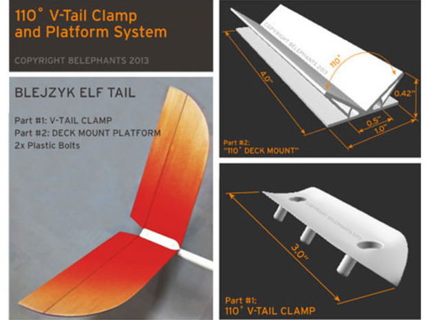 110 Degree V-Tail Clamp + Mount Set (Sailplanes) 3d printed Product Dimensions