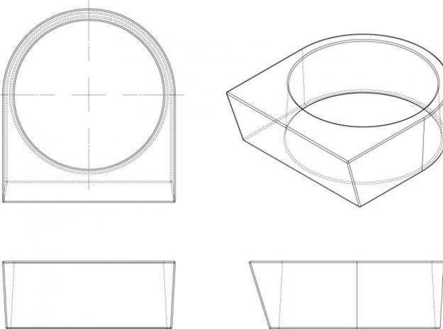 block Ring 20 3d printed orthographic drawing