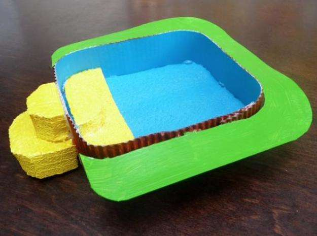 Playmobil jacuzzi 3d printed The initial cardboard design.