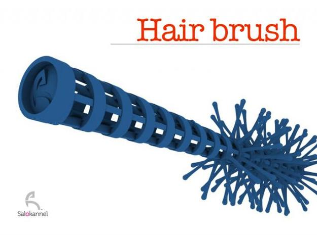 Spiral-hair brush 3d printed Blue brush
