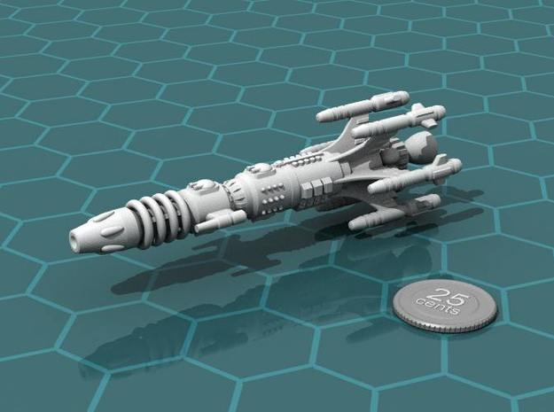 Privateer Buffalo class Dreadnought 3d printed Render of the model, with a virtual quarter for scale.