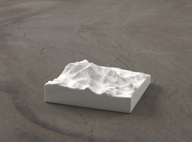 3''/7.5cm Mt. Everest, China/Tibet, Ceramic 3d printed Radiance rendering of Everest massif from the North