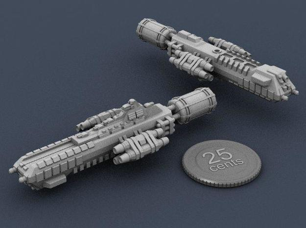 Jovian Callisto class Heavy Carrier 3d printed Renders of the model, with a virtual quarter for scale.