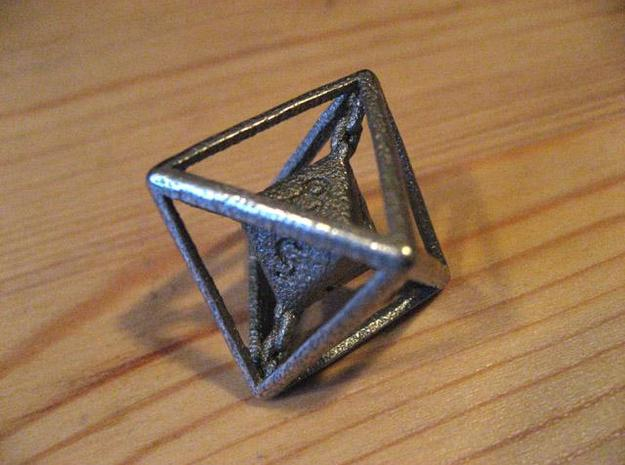 Chained die 8-sided 3d printed Stainless steel