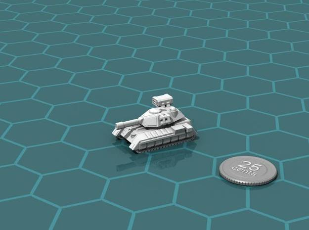 Terran Main Battle Tank 3d printed Render of the model, with a virtual quarter for scale.