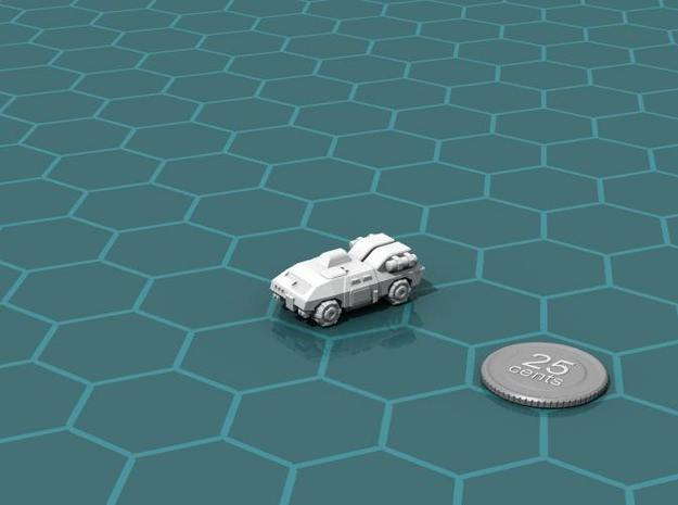 Terran APC 3d printed Render of the model, with a virtual quarter for scale.