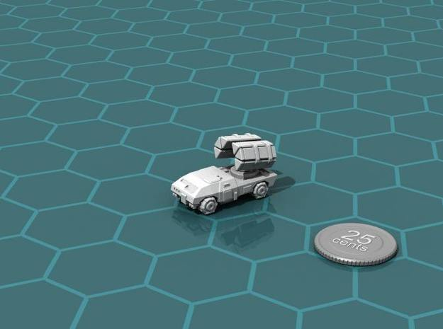 Terran Guided Missile Truck 3d printed Render of the model, with a virtual quarter for scale.