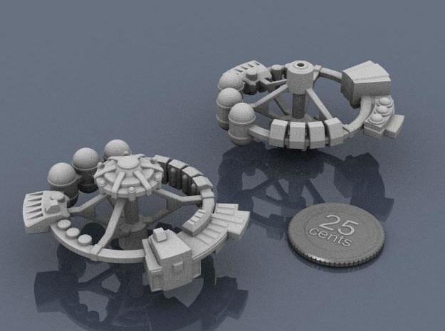 Orbital Factory 3d printed Renders of the model, with a virtual quarter for scale.
