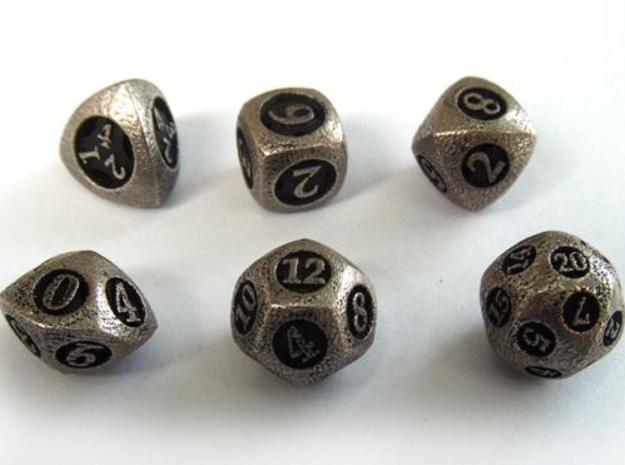 Overstuffed Dice Set 3d printed In stainless steel and inked